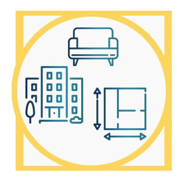 En la misma imagen aparecen 3 iconos: un edificio alto que representa la seguridad, un sillón que representa la confortabilidad y un plano de un edificio que representa la usabilidad del mismo.