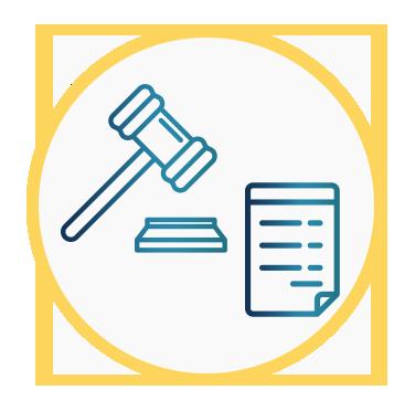 Aparece en la misma imagen 2 iconos: una de un mazo de juez y otro de una hoja escrita, juntos representan las normativas en materia de accesibilidad.