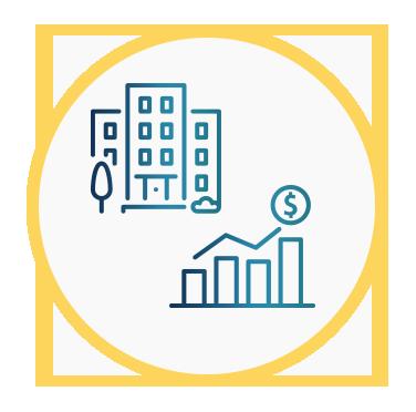 Aparece un edificio y una gráfica de beneficios ascendente con el signo del dólar, ambas representan el crecimiento del valor del inmueble.