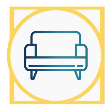 Aparece un icono con un sillón que intenta representar la comodidad y confortabilidad.