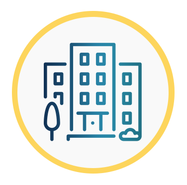 Aparece el icono de un edificio alto que intenta representar robustez y seguridad.