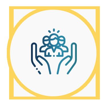Icono de unas manos que rodea a personas, que representa la atención