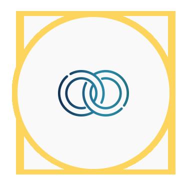 Icono de dos círculos entrelazados que representa compromiso