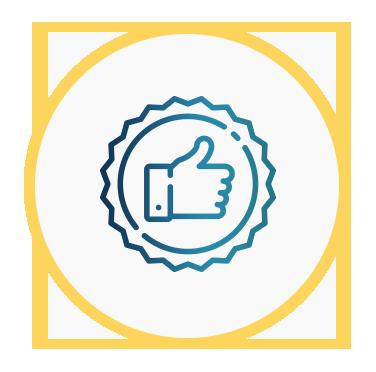 Icono de una mano con el pulgar hacia arriba que representa la fidelidad del cliente