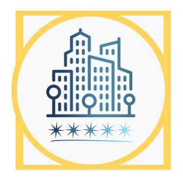 Icono de una ciudad y unas estrellas que representan los grados de accesibilidad de los espacios y servicios