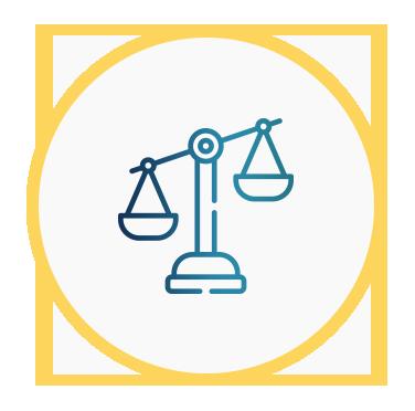 Icono de una balanza que representa la legalidad