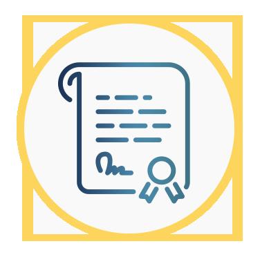 Aparece el icono de un certificado que representa el proceso para obtenerlo.