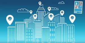 Imagen del skyline de una ciudad con el logo de AIS en los edificios