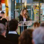 Amalia Marco, gerente de Arenas de Barcelona, da la bienvenida a los invitados