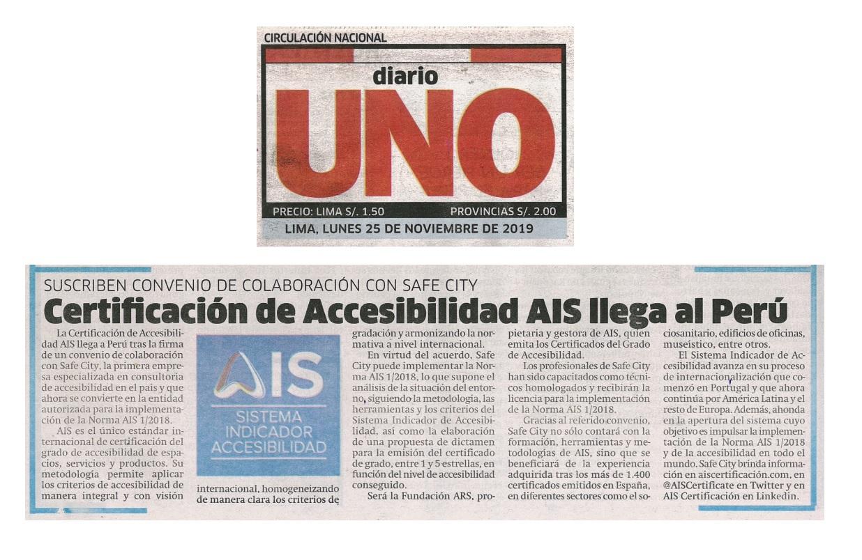 Recorte denoticia en Diario UNO