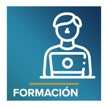 Icono que representa a un profesor con el texto Formación