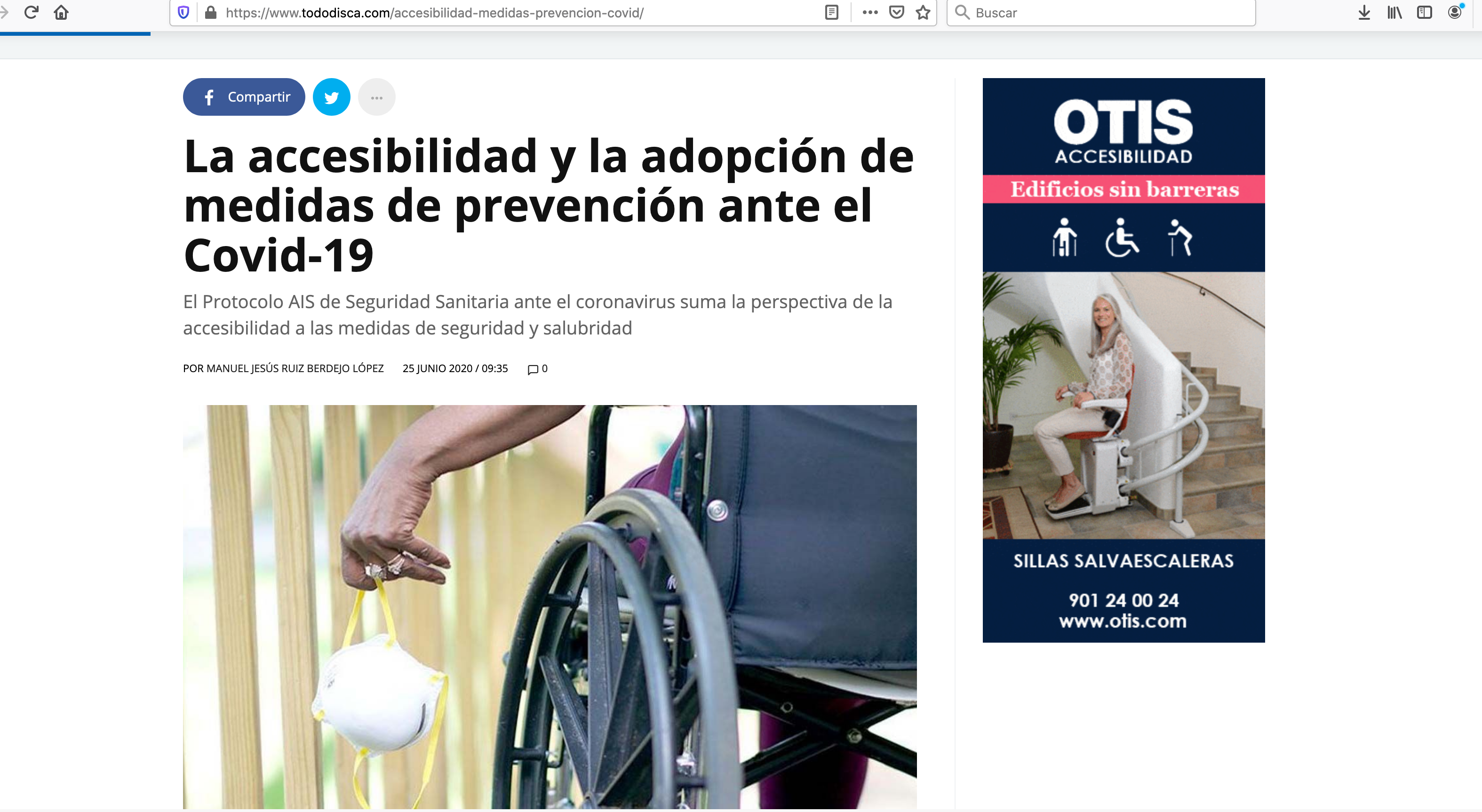 Captura de pantalla de la noticia de Tododisca