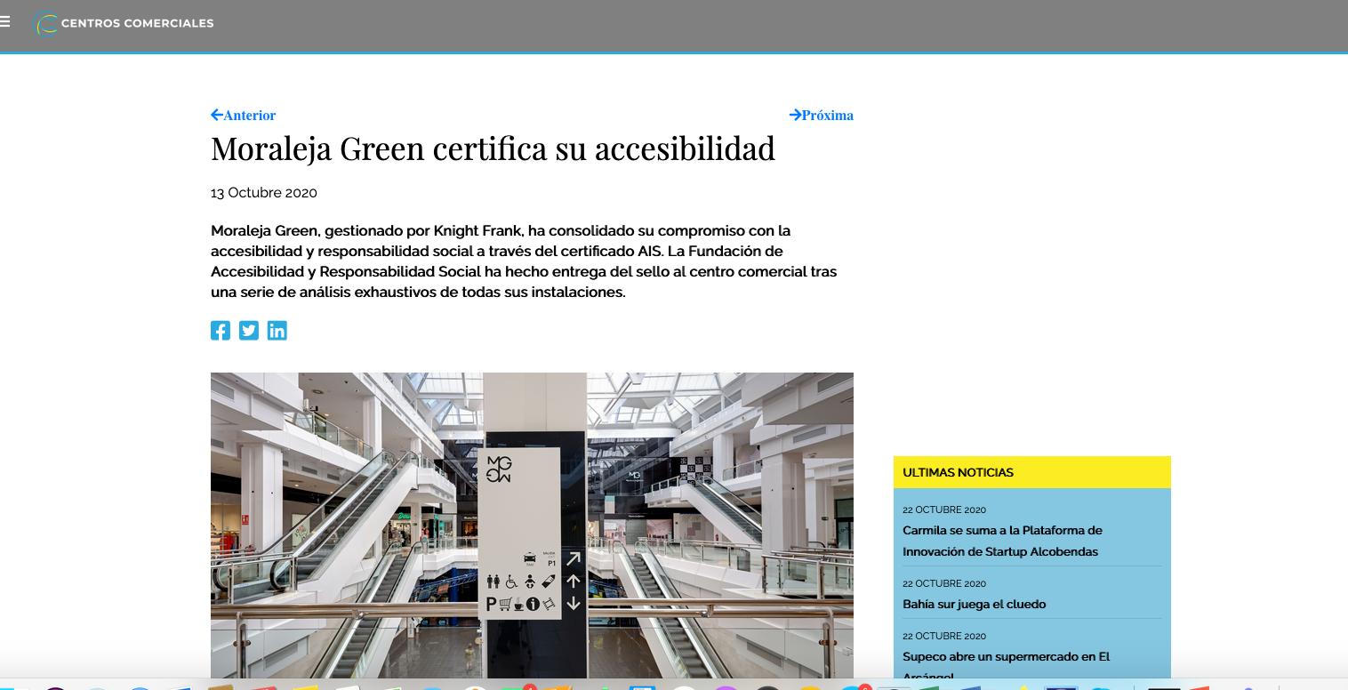 Captura de noticia sobre la certificación de Moraleja Green