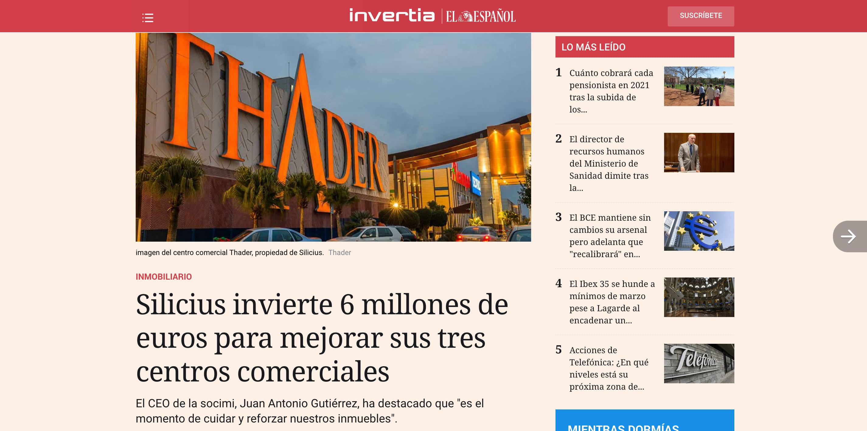Captura de noticia de El Español