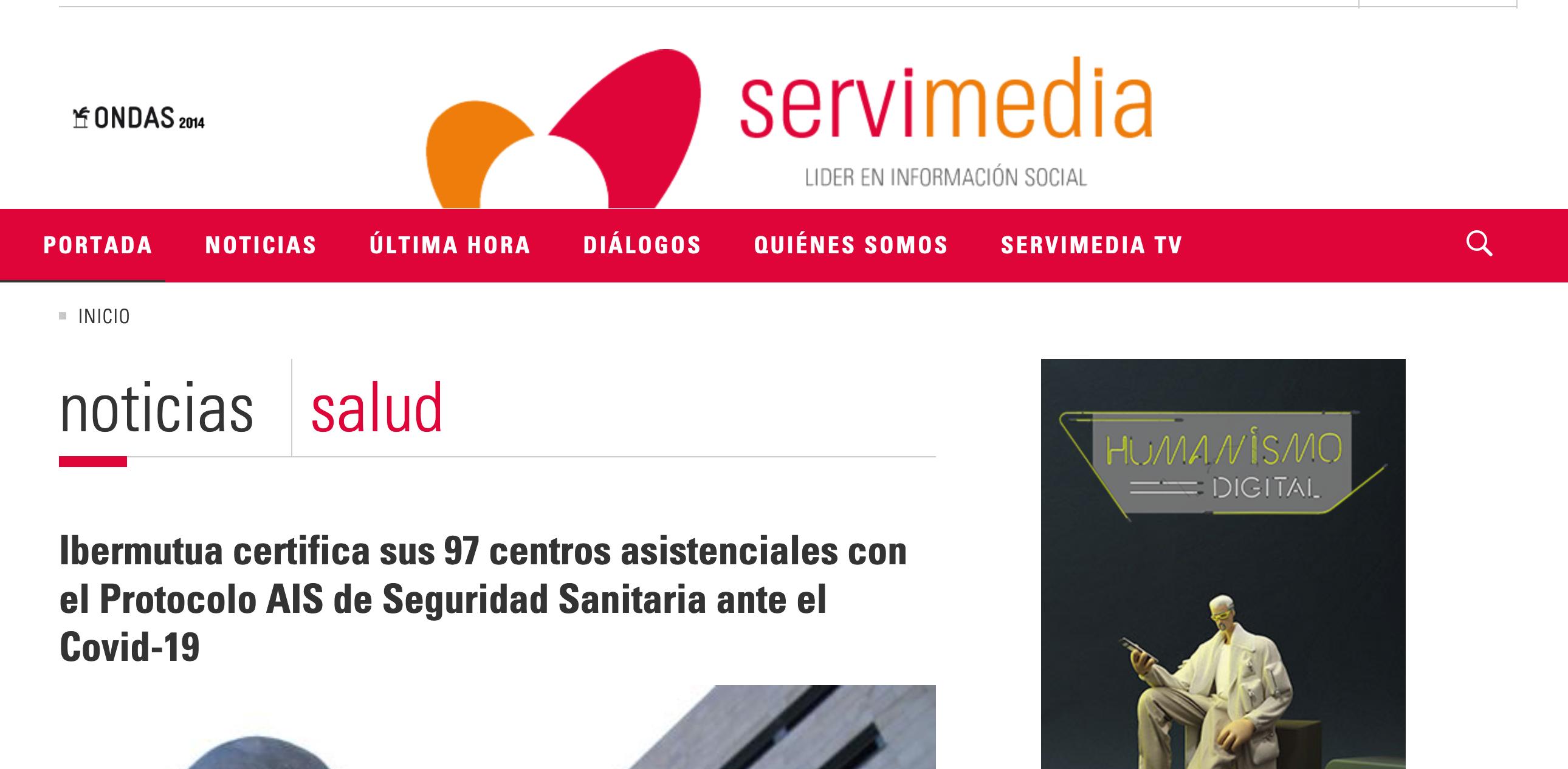 Captura de noticia sobre Ibermutua en Servimedia
