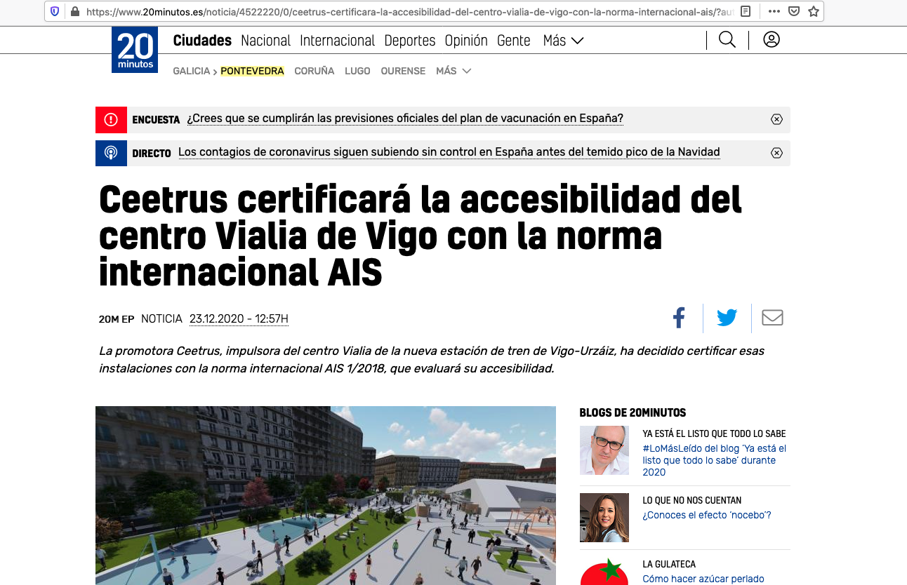 Captura de la noticia publicada en 20 minutos