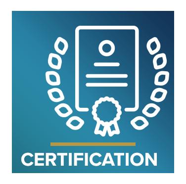Icono que representa un certificado con el texto Certificación