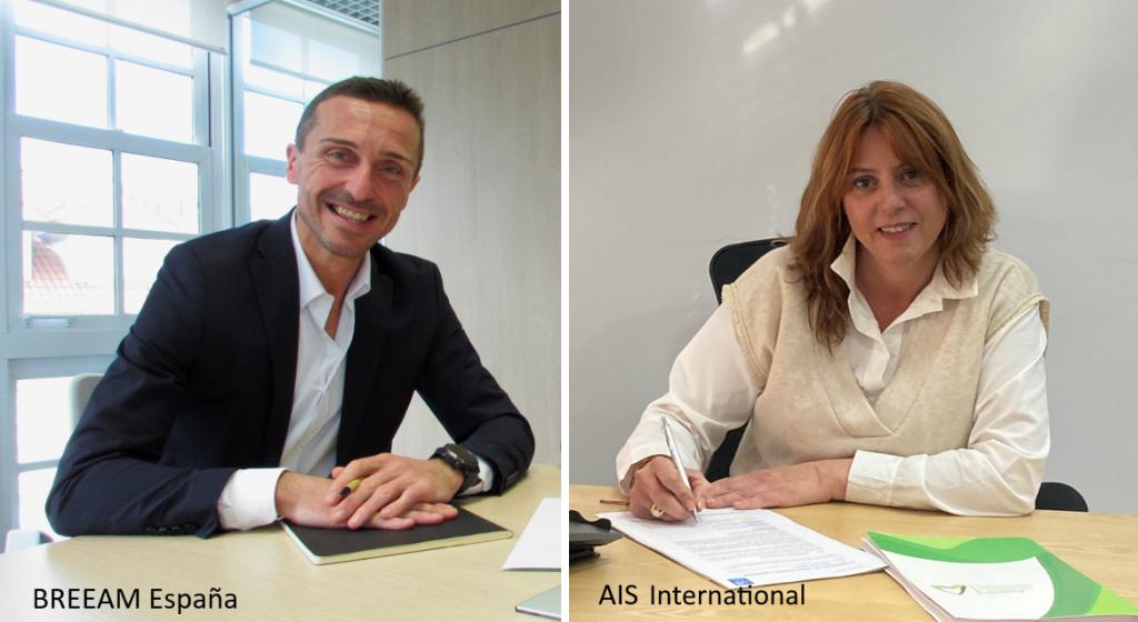 Javier Tórrala, director de BREEAM España, y Esther Bienes Pinedo, Presidenta de Fundación ARS y AIS, durante la firma del convenio