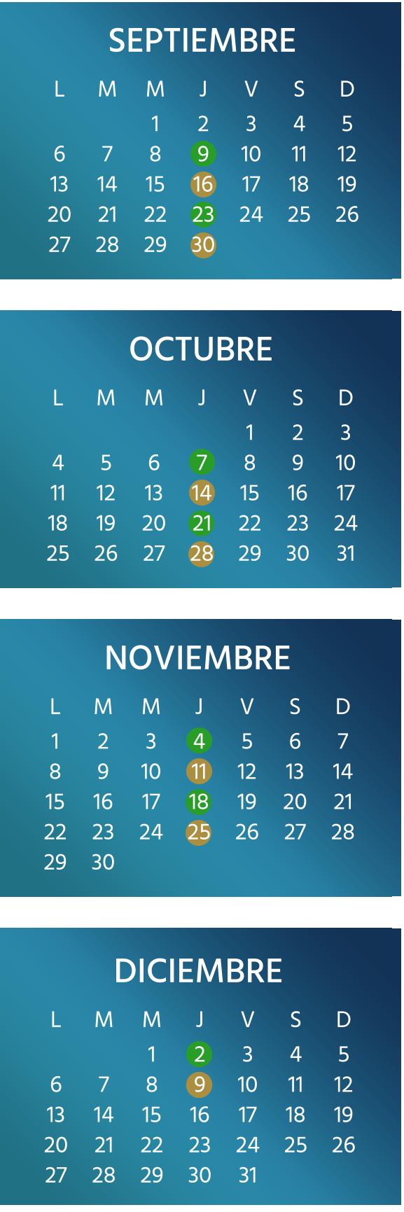 Calendario de septiembre a diciembre de 2021