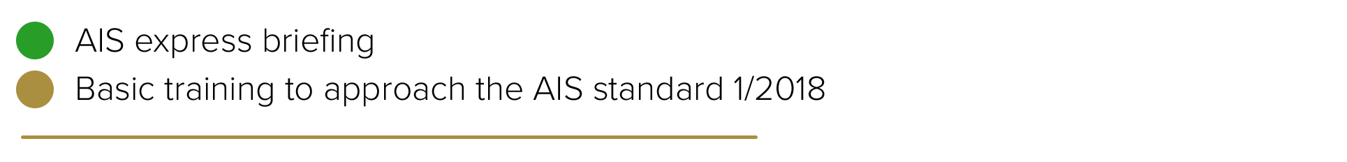 Aparece la leyenda del calendario, un círculo verde se asigna para la sesión informativa exprés y un círculo dorado se asigna para las fechas del curso básico de aproximación a la norma AIS 1/2018